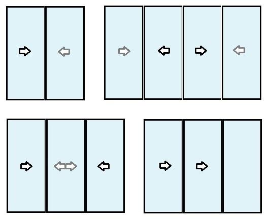 Possibilité de baie coulissante multi-vantaux et multi-rails