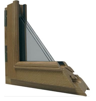 Coupe d'angle menuiserie Bois chêne Bremaud gamme Visea. Une matière noble et durable qui a fait ses preuves à travers le temps. Le bois est idéal pour la fabrication d'ouvertures sur-mesure et permet de conserver le caractère de votre  habitation.