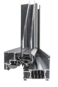 Coupe d'angle menuiserie en Aluminium FenêtréA gamme Azur. Grâce à la Finesse des profils, optez pour les plus grandes surfaces vitrées et laissez ainsi entrer un maximum de luminosité ave cette menuiserie contemporaine.