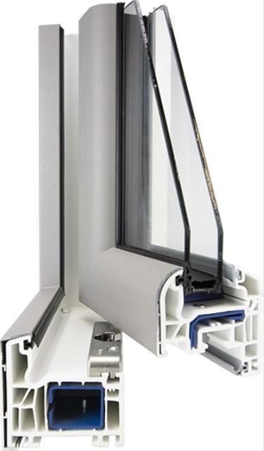Coupe d'angle menuiserie en Mixte PVC/Alu FenêtréA gamme Enoralu. Une menuiserie innovante qui associe la performance thermique du PVC ainsi que les avantages esthétiques et la durabilité de l'aluminium.