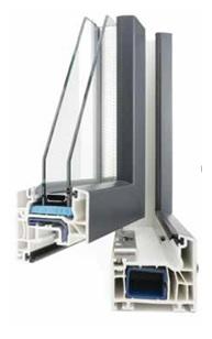 Coupe d'angle menuiserie en PVC FenêtréA gamme Helena. La solution économique du marché de la menuiserie. Le PVC s'adapte à différents types d'ouvertures, tailles et formes. Facile d'entretien ce matériau est parfaitement recyclable, il résiste aux UV, aux chocs et à la déformation.