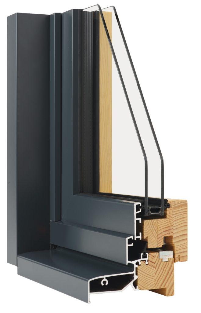 Coupe d'angle menuiserie en Mixte Bois/Alu Minco gamme Tonus. La chaleur et la performance du bois à l'intérieur associées avec les avantages esthétiques et durables de l'aluminium.