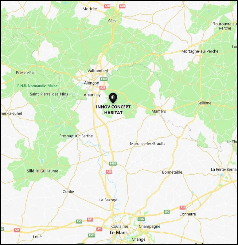Rayon d'intervention Innov Concept Habitat. Pose sur Alençon, Le Mans, Mamers, Mortagne,-au perche, Argentan, et Sillé le guillaume.