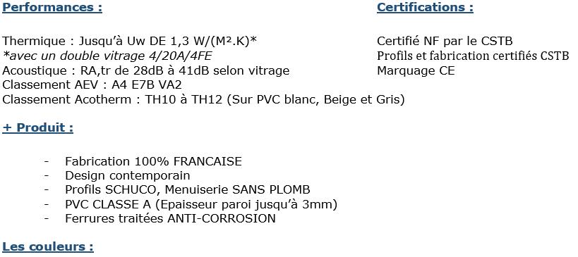 Certifications et performance de la menuiserie mixte PVC/ALU gamme ENORALU. Nuancier PVC et ALU Fenêtréa 2020.