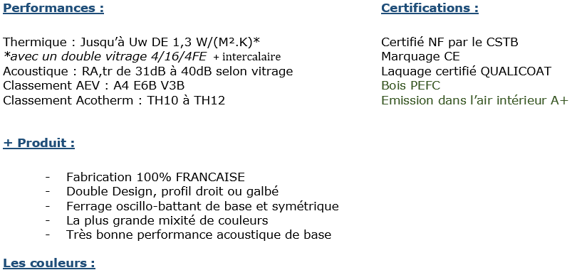 Fiche de performance et certifications pour les menuiseries mixte Bois/alu. Choix des teintes bois intérieure et du nuancier Ral Alu extérieur Minco 2020