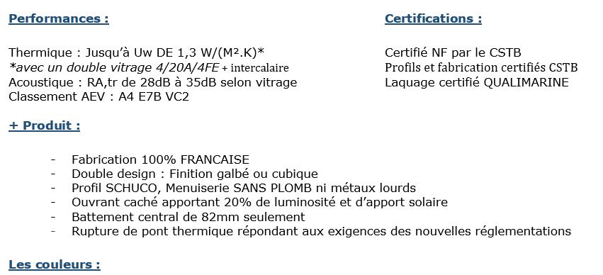 Fiche des performance et certications des menuiseries en aluminium. Nuancier aluminium FenêtréA 2020.