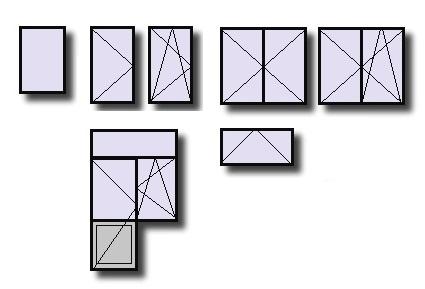 Pictogramme des types d'ouvertures en menuiserie. Fixe, ouvrant à la française, Châssis à soufflet, ensemble composé...