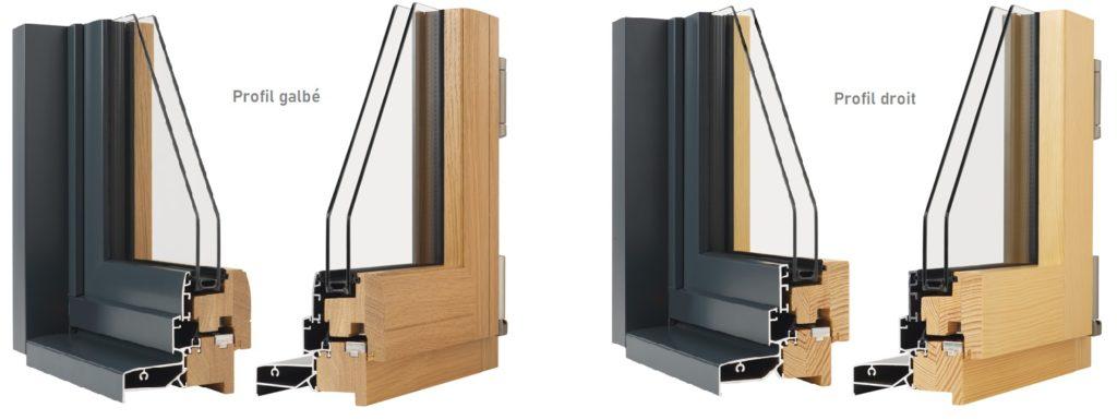 Présentation des profils ouvrant à la française en mixte Bois/Aluminium. Gamme Tonus (forme droite) et Noéva (galbé) de chez Minco.