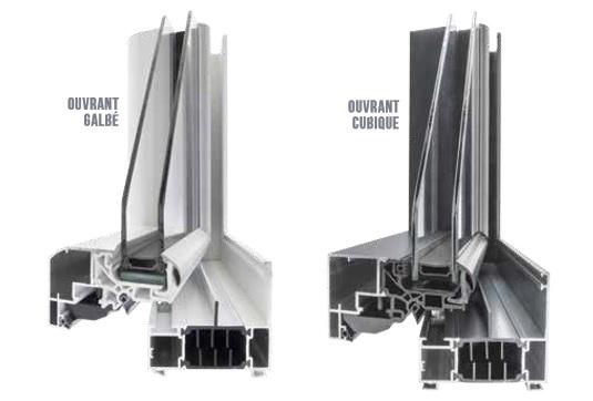 Angle de menuiserie à frappe en Aluminium FenêtréA gamme AZUR. Présentation des profils galbé ou cubique (moderne).