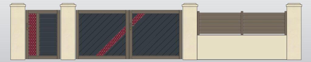 Exemple de réalisation 3D d'un projet de portail, portillon et cloture en Aluminium.